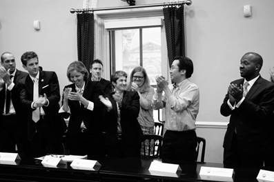 U.S. CTO Megan Smith and former CTO Todd Park meet with Presidential Innovation Fellows.
