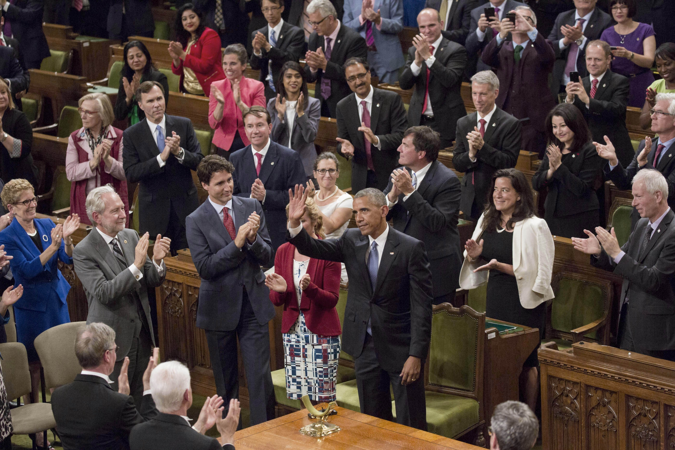 President Barack Obama waves after delivering an address to Parliament in the House of Commons Chamber at Parliament Hill in Ottawa, Canada, June 29, 2016. (Official White House Photo by Lawrence Jackson)