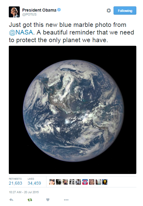 POTUS tweets about the NASA Blue Marble Image.