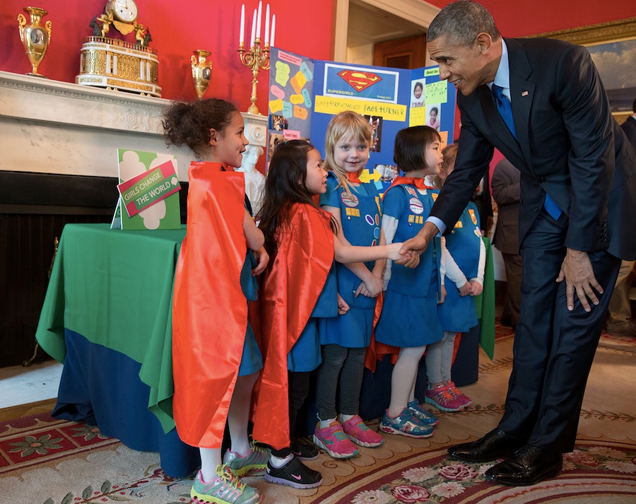 President Obama greets Girl Scouts from Tulsa, Oklahoma, at the 2015 White House Science Fair in the Red Room.