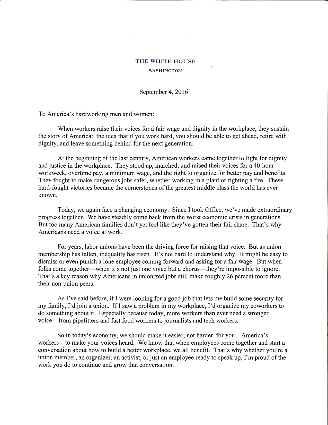 President Obama's letter on Labor Day (1 of 2)