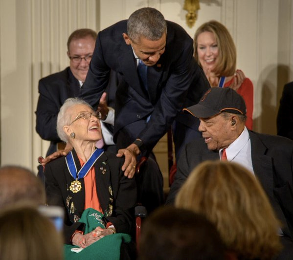 President Barack Obama presents former NASA mathematician Katherine Johnson with the Presidential Medal of Freedom on, Tuesday, Nov. 24, 2015. (Photo Credit: NASA/Bill Ingalls).