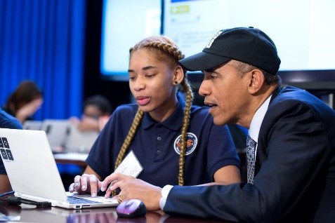 President Obama sits with young coders at a Computer Science for All event at the White House in January 2016. (Official White House Photo)