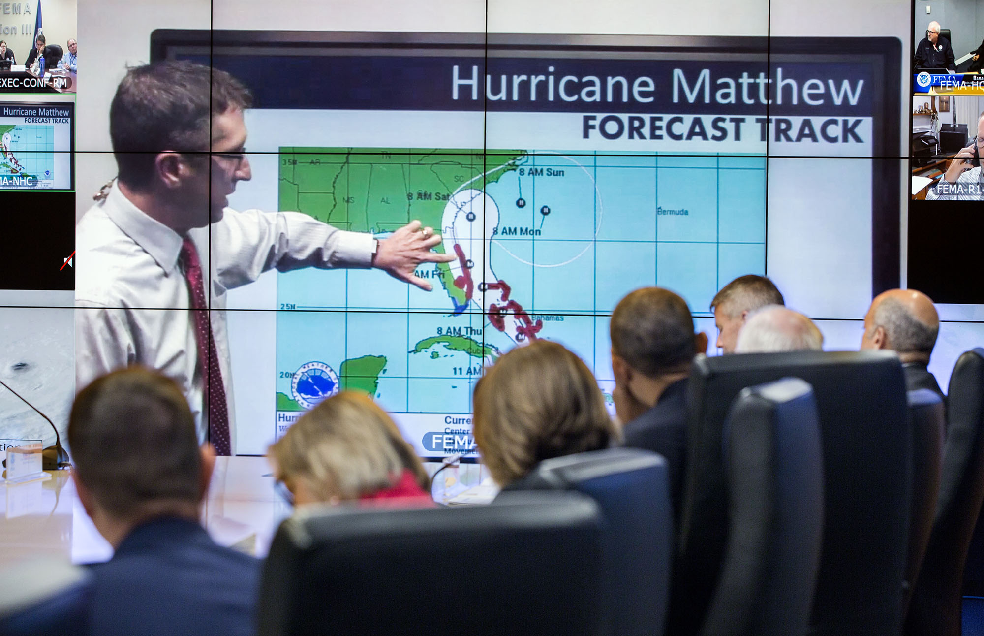 President Obama receives an update on Hurricane Matthew at FEMA HQ
