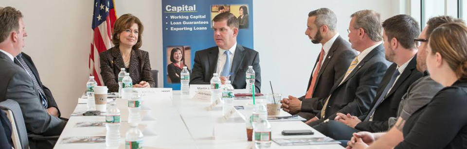 "SIAD_new: ""SBA Administrator Maria Contreras-Sweet with Boston Mayor Marty Walsh announcing the Startup in a Day initiative with entrepreneurs in Boston, June 11, 2015. (Photo Credit: SBA)"""