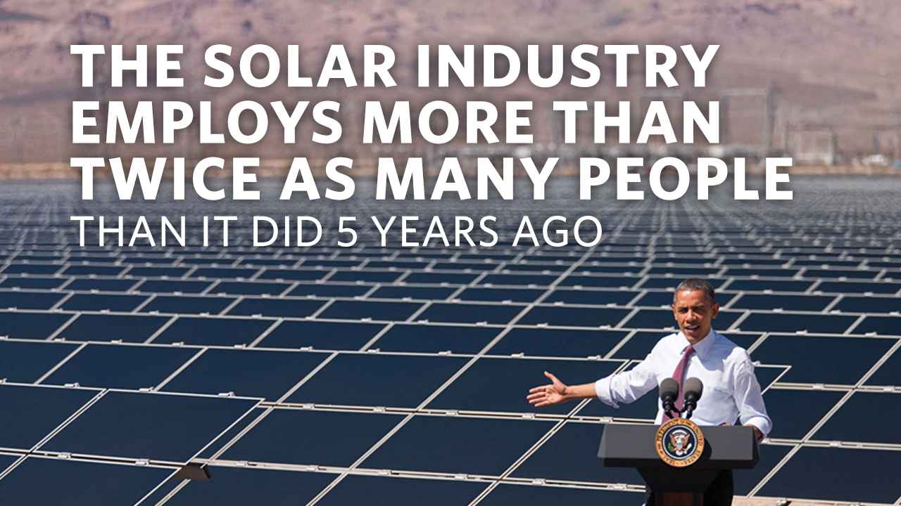 The solar industry employs more than twice as many people than it did 5 years ago