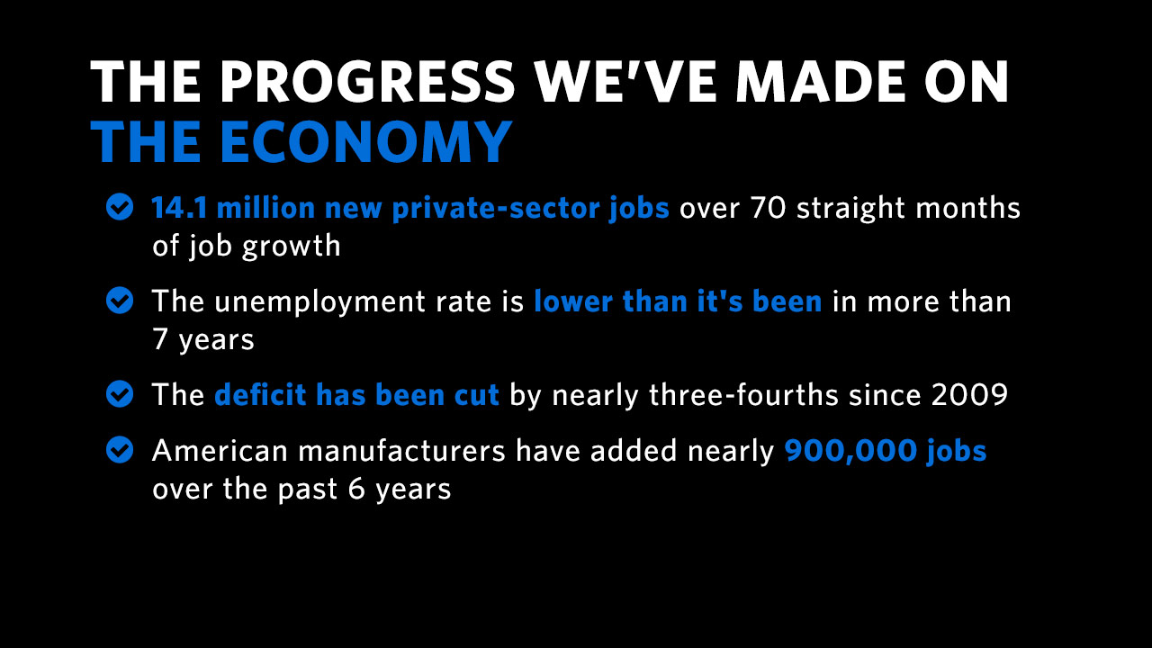The progress we've made on the economy