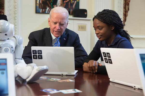 "Vice President Biden at the ""Hour of Code"" event in 2014."