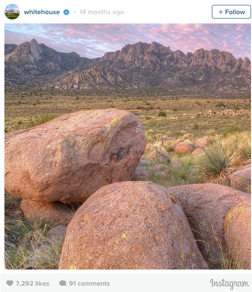 Today, @USInterior is taking over the account to celebrate President Obama's designation of Organ Mountains-Desert Peaks National Monument this afternoon.