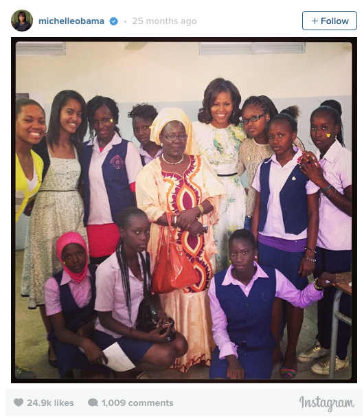 My first instagram! So inspired and so impressed by these extraordinary young women. -mo #FLOTUSinAfrica