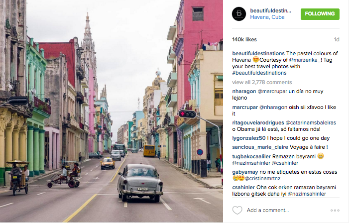 @beautifuldestinations shares a photo of Havana's pastel colored streets