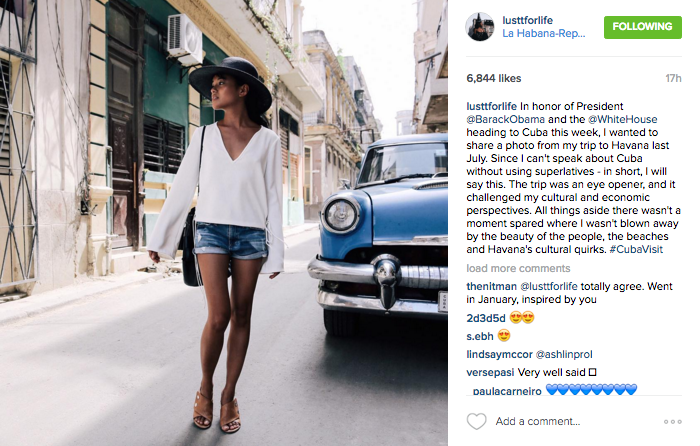 @lusttforlife shares a photo from her recent trip to Havana