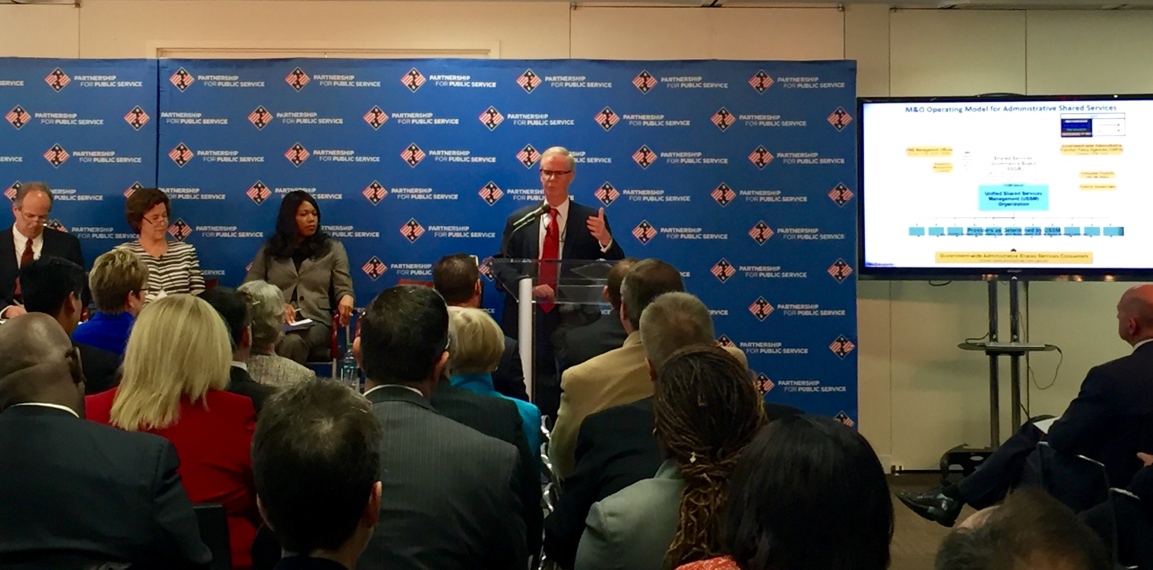 David Mader , speaks at the Partnership for Public Service on 10/22/15.