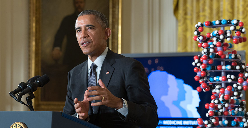 President Obama gives a speech launching the Precision Medicine Initiative in January 2015.