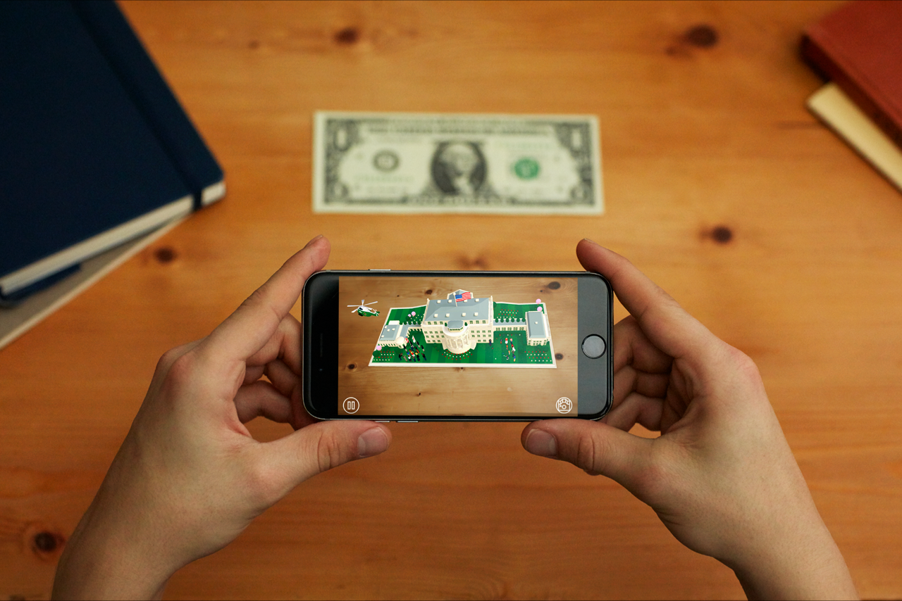 Watch the White House appear on a one dollar bill with the new 1600 app.