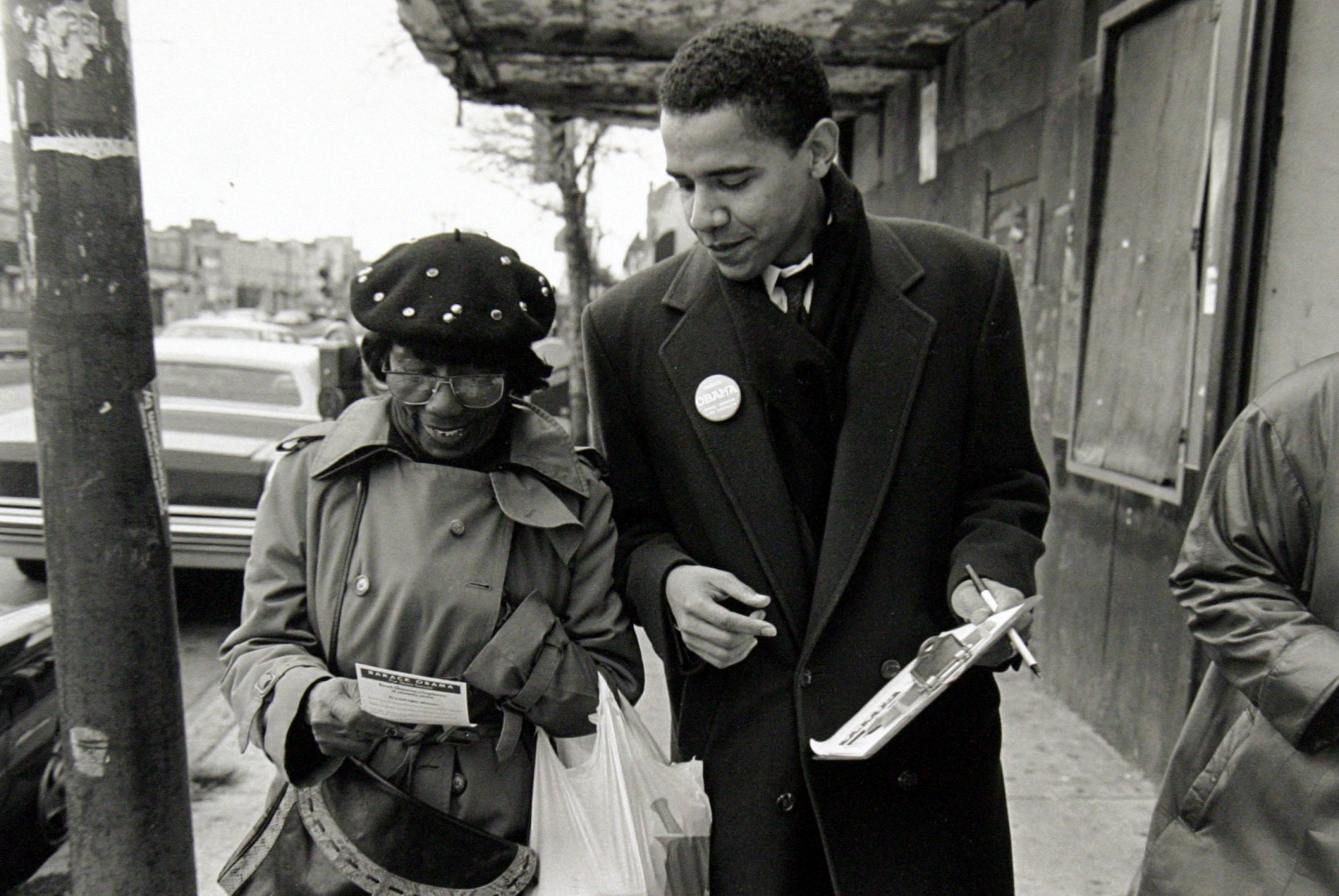 Depicted is President Obama when he served as a community organizer in the South Side of Chicago.