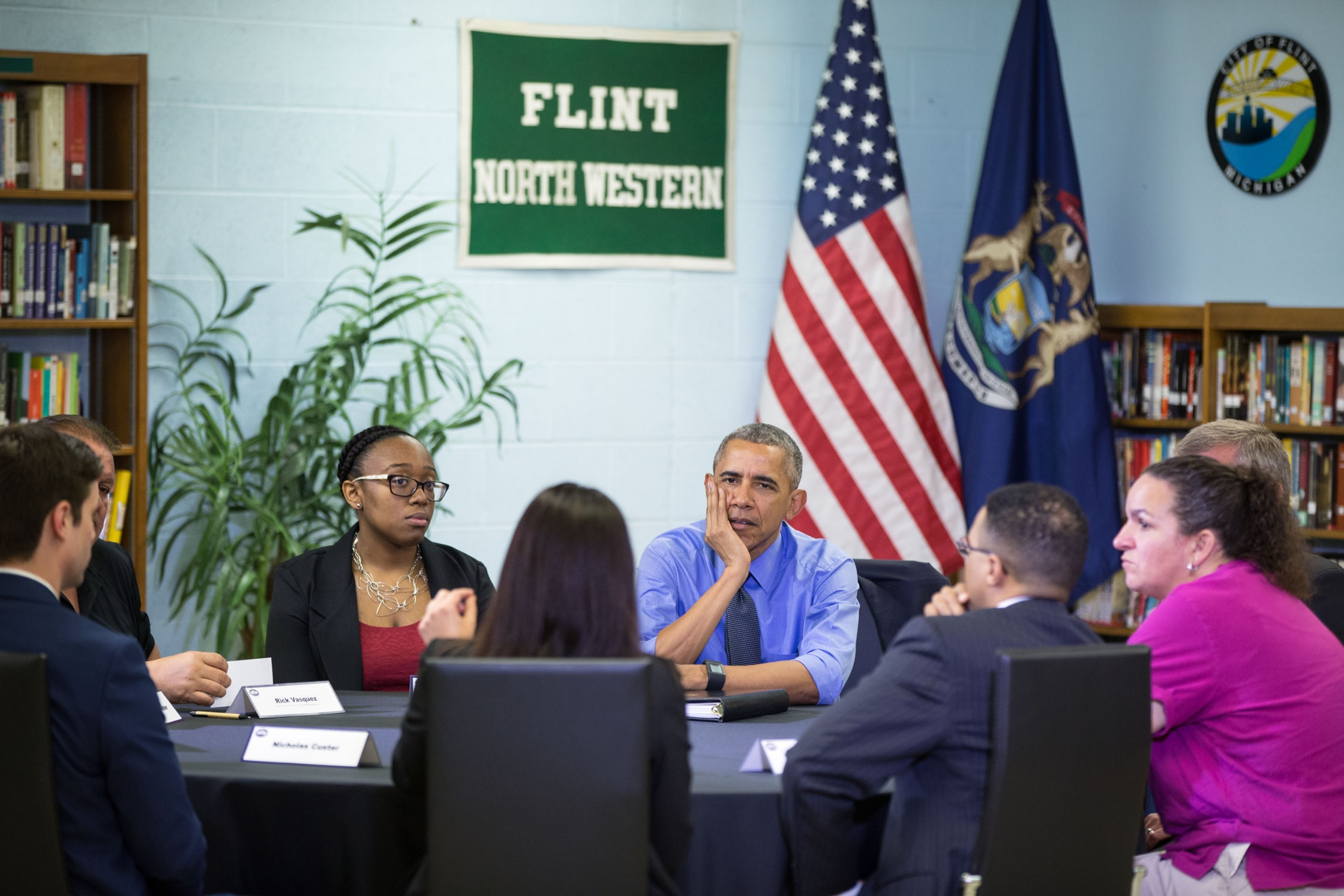 President Barack Obama participates in a roundtable on the Flint water crisis