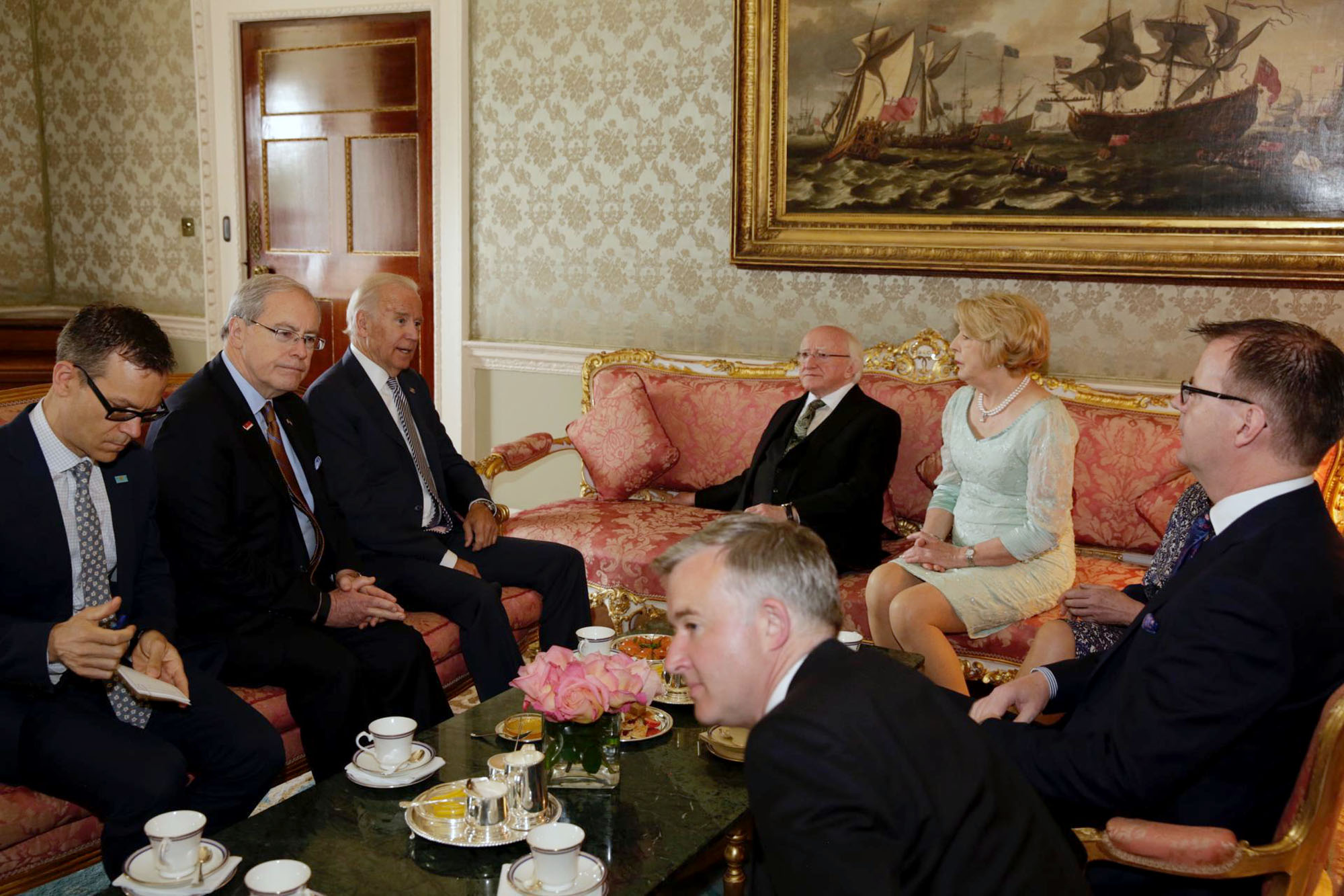 Vice President Joe Biden attends a bilateral meeting with President Michael Higgins at the President's Residence in Dublin, Ireland, June 22, 2016. Also in attendance are U.S. Amb. to Ireland Kevin O'Malley, Colin Kahl, Mrs. Sabina Higgins, Ireland Amb. to the U.S. Anne Anderson; Art O'Leary, Secretary General to the President; Liam Herrick, Adviser to the President. (Official White House Photo by David Lienemann)