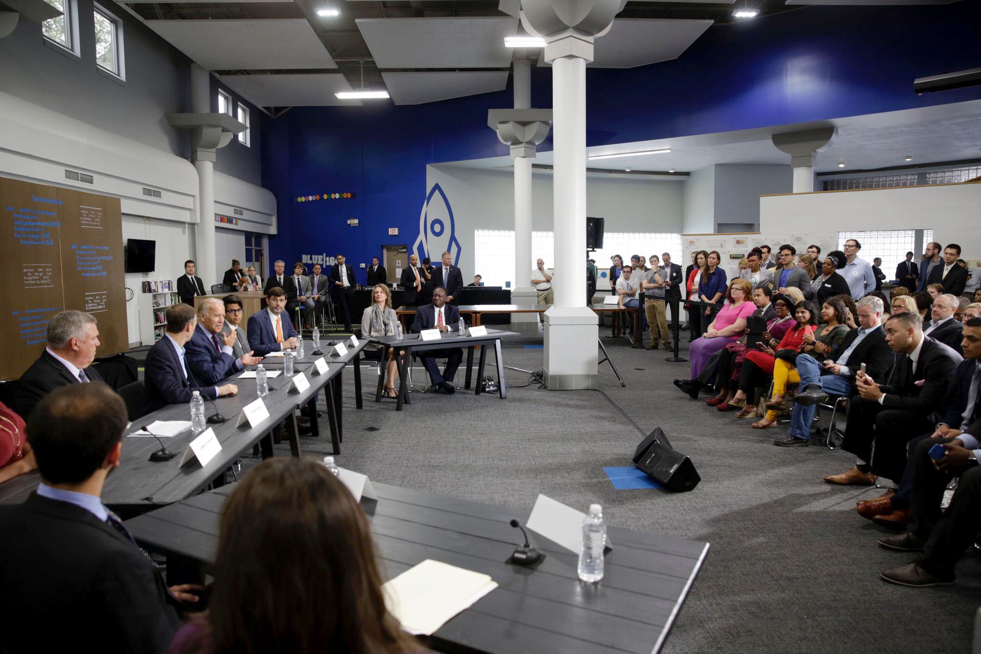 Vice President Joe Biden gives remarks at a roundtable on a tech hire initiative at the LaunchCode Mentor Center in St. Louis, Missouri, Sept. 9, 2016. (Official White House Photo by David Lienemann)