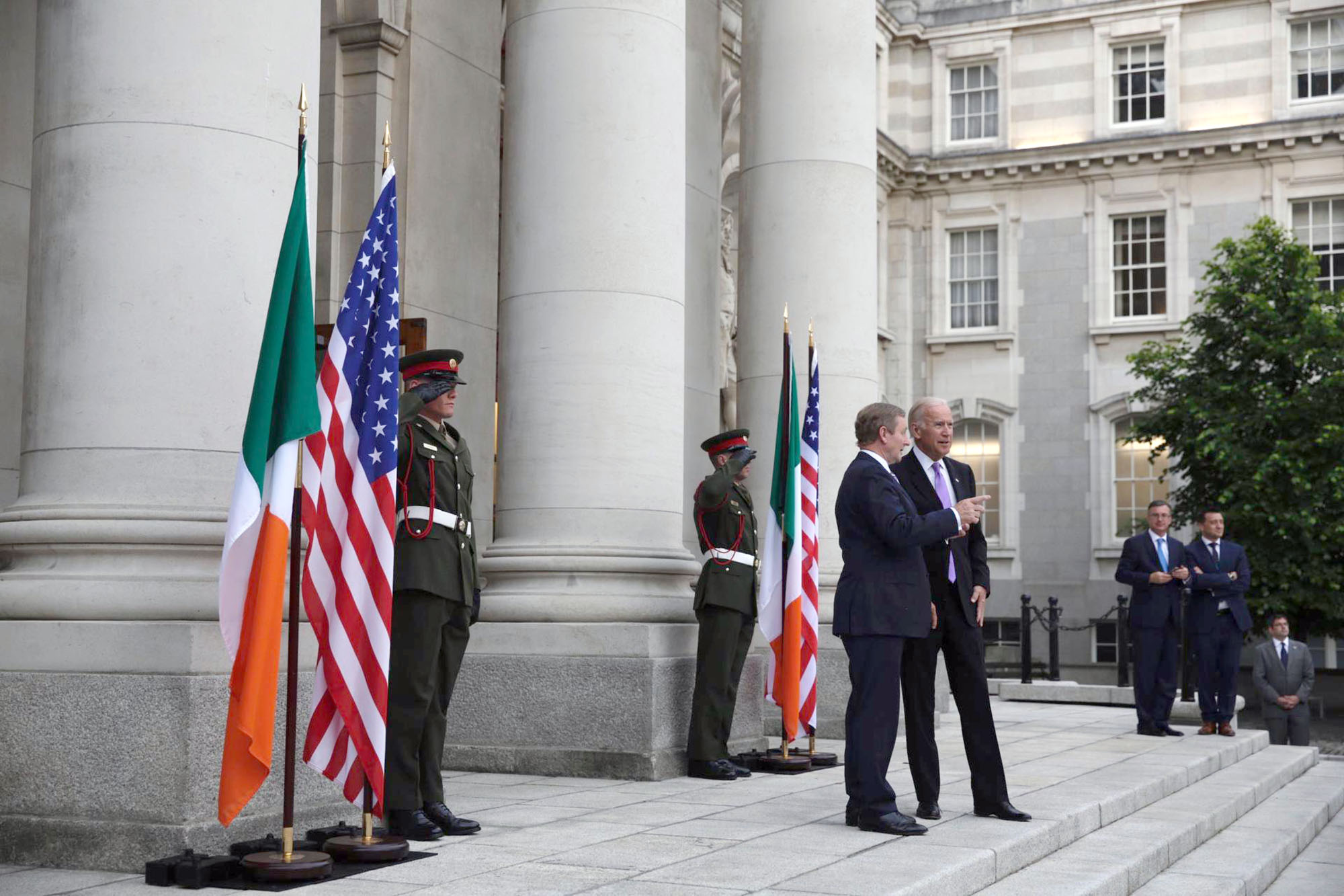 Vice President Joe Biden is greeted by Taoiseach Kenny outside the government building before their bilateral meeting, in Dublin, Ireland, June 21, 2016. (Official White House Photo by David Lienemann)