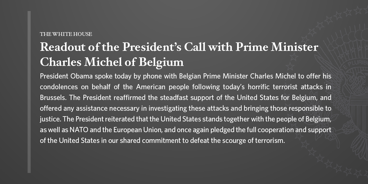 President Obama's Call with Prime Minister Michel