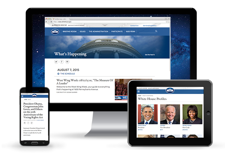The White House blog redesign shown on multiple devices