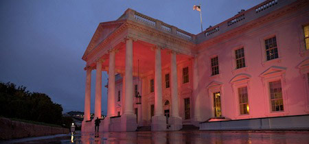 The White House North portico is lit pink in support of breast cancer awareness