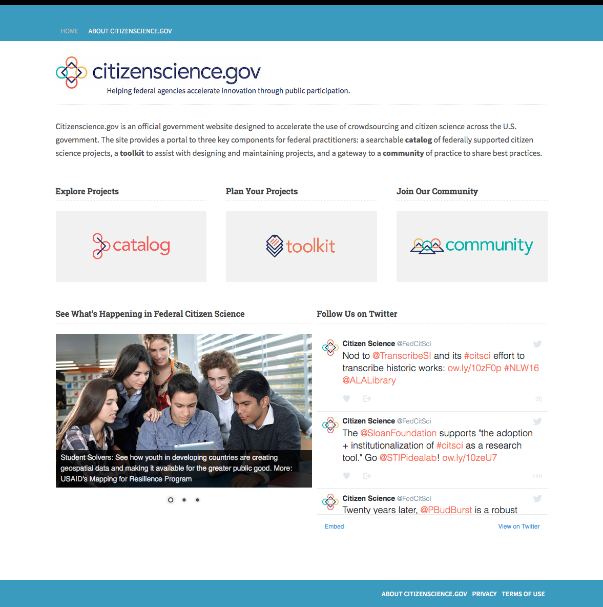 CitizenScience.gov screenshot
