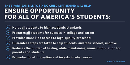 The Bipartisan bill to fix No Child Left Behind will help ensure opportunity for all of America's students