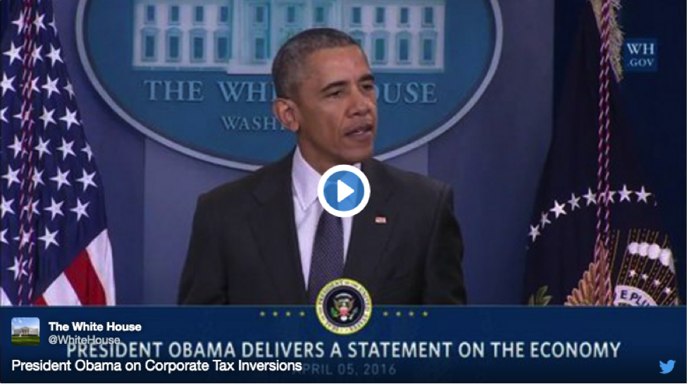 President Obama delivers a statement on corporate tax inversions