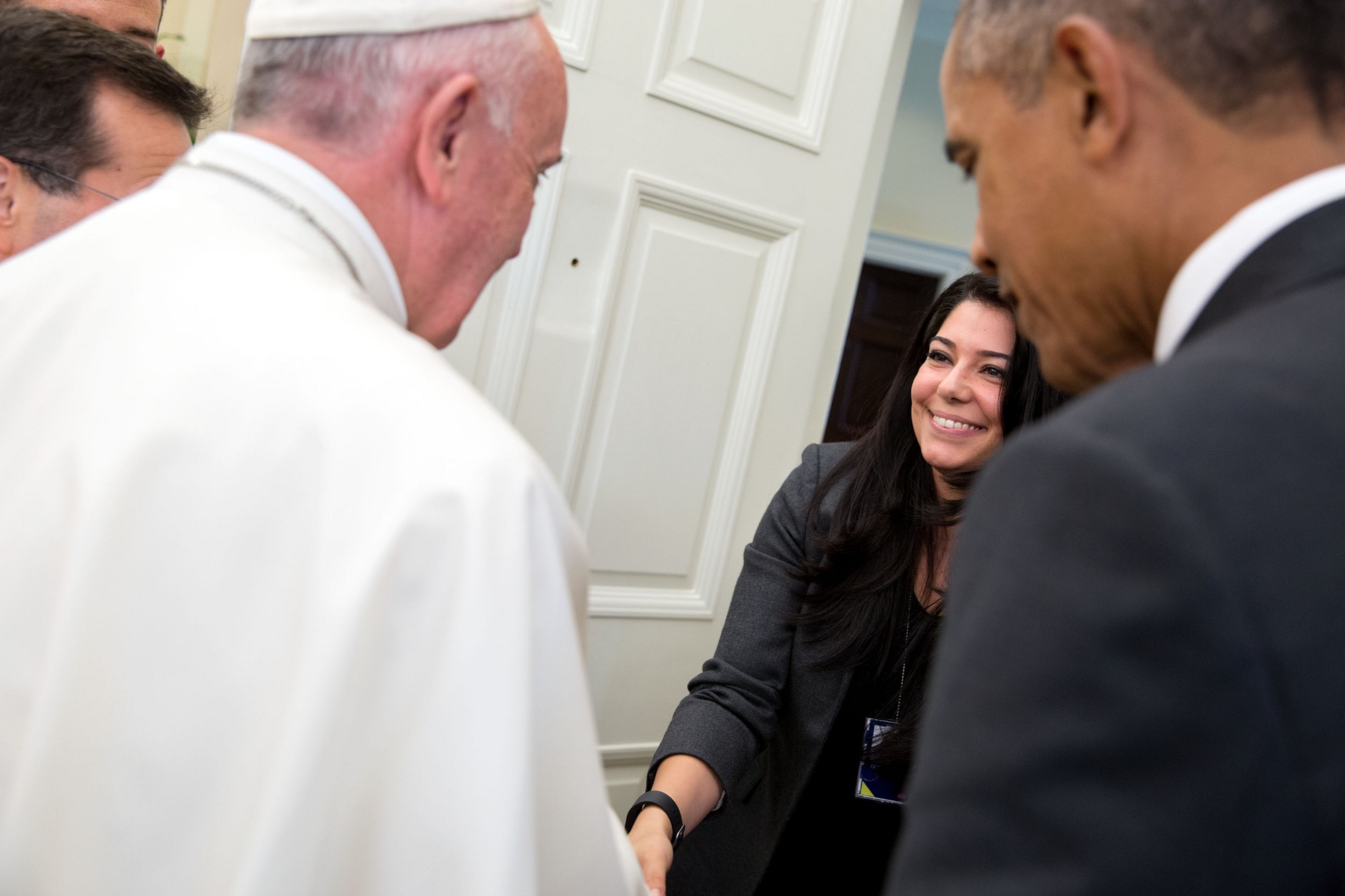President Obama introduces Pope Francis to his Personal Aide Ferial Govashiri. (Official White House Photo by Pete Souza)