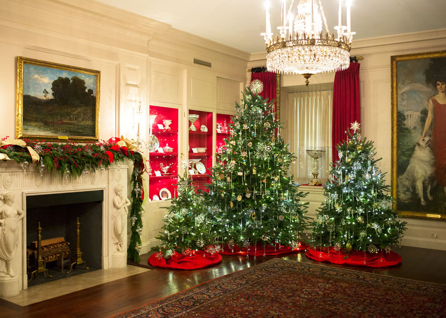 This year, the China Room displays thirty intricate holiday ornaments, representing former Administrations. These decorations honor the gifts that each President bestowed upon our great Nation.