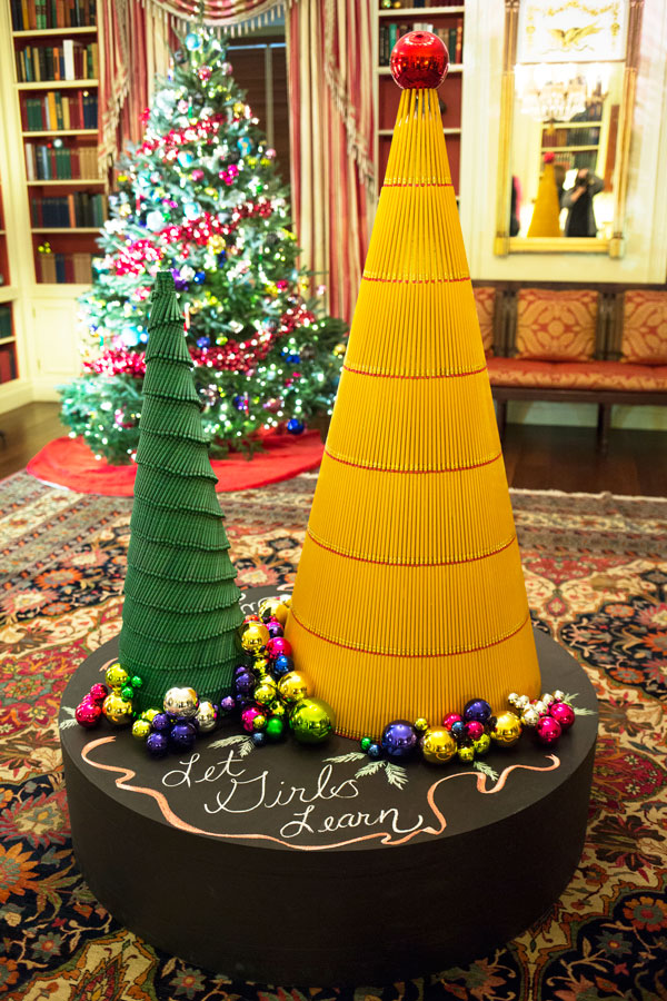 the white house library is adorned with a childs school supplies supporting the first ladys - Library Christmas Decorations