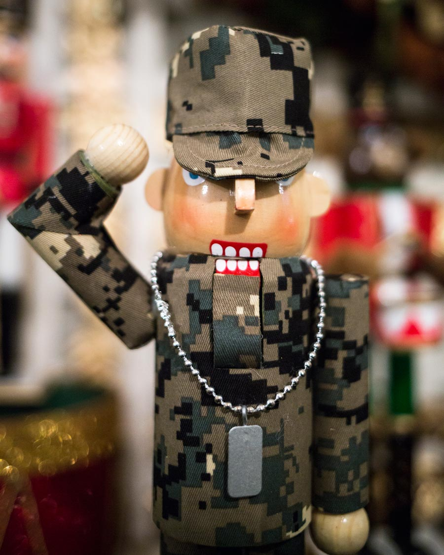 Nutcracker dressed as a soldier in the East Garden Room, which pays tribute to our nation's service members and veterans.