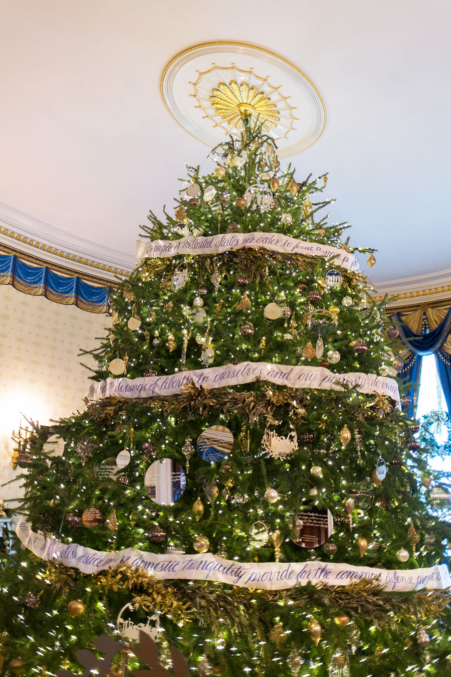 this years iconic blue room christmas tree celebrates we the people as it - Christmas Decorations 2016