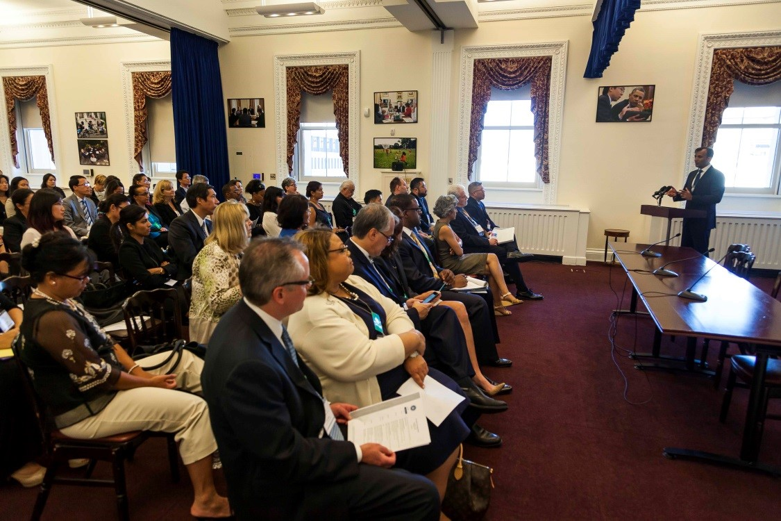 United States Chief Data Scientist DJ Patil speaks on the importance of data disaggregation at the iCount Symposium at the White House, September 15, 2015. (Photo by Will Kim)