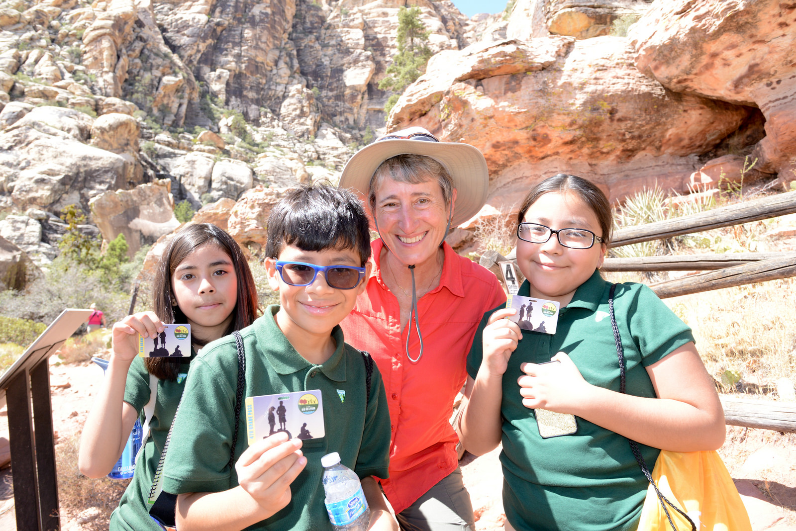Secretary Jewell at Red Rocks with 4th grade students