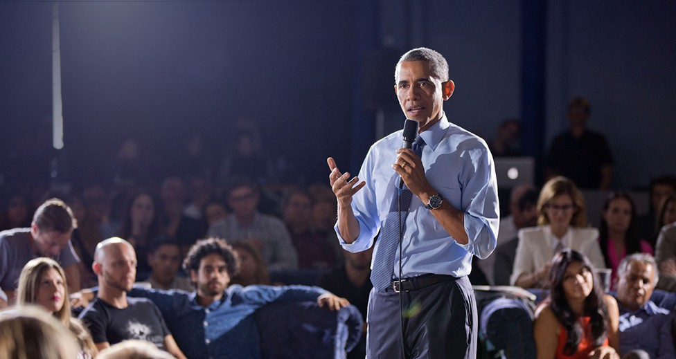 President Obama speaking to an audience.