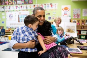 President Obama with students.
