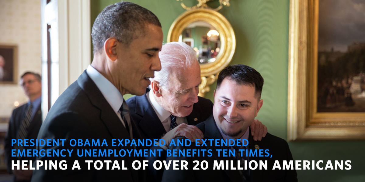 President Obama extended UI benefits for over 20 million Americans